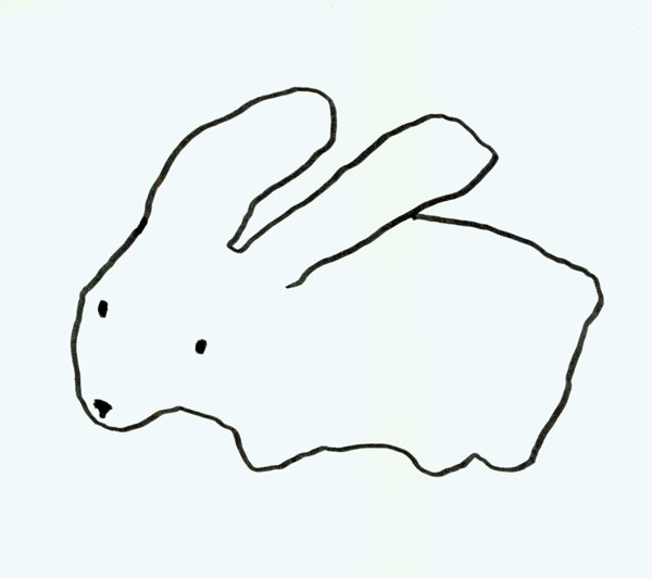 Step 2 now take your tombow marker and draw a simple outline of a rabbit you can draw from your imagination or from a reference your choice