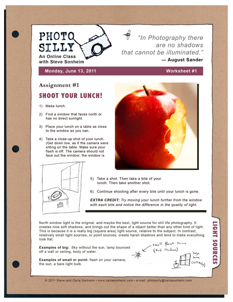 Printables Photography Worksheets photo silly classes carla sonheim you will receive an daily e mail from steve where he further explain concepts that might not fit on a worksheet including answers to questions from